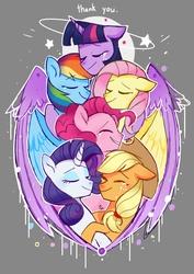 Size: 1240x1754 | Tagged: safe, artist:pinweena30, derpibooru exclusive, applejack, fluttershy, pinkie pie, rainbow dash, rarity, twilight sparkle, alicorn, earth pony, pegasus, pony, unicorn, circling stars, cowboy hat, crying, cute, dashabetes, diapinkes, end of ponies, eyes closed, female, happy, hat, hug, jackabetes, magic, mane six, raribetes, sad, shyabetes, smiling, stars, tears of joy, thank you, twiabetes, twilight sparkle (alicorn), winghug, wings
