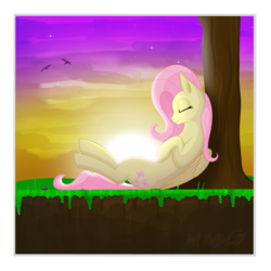 Size: 4488x4488 | Tagged: safe, artist:wumbl3, derpibooru exclusive, fluttershy, bird, pegasus, pony, eyes closed, female, folded wings, mare, nap, on back, outdoors, profile, sleeping, solo, sun, sunset, tree, under the tree, wings
