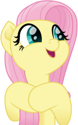 Size: 3000x4817   Tagged: safe, artist:cloudyglow, fluttershy, pegasus, pony, my little pony: the movie, bust, cute, female, hooves to the chest, looking away, looking sideways, mare, open mouth, shyabetes, simple background, smiling, solo, transparent background, vector