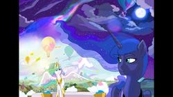 Size: 1920x1080   Tagged: safe, artist:ponyhiall, princess celestia, princess luna, pony, aurora borealis, cloud, confetti, day, female, horizon, hot air balloon, moon, night, ponyville, sisters, sky, stars, sun, watch