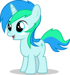 Size: 5000x5304 | Tagged: artist:luckreza8, artist:selenaede, colt, happy, male, missing accessory, oc, oc:cyan lightning, oc only, open mouth, pony, safe, simple background, transparent background, unicorn, vector