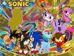 Size: 960x720   Tagged: safe, artist:funimation2002, artist:fuzon-s edits, artist:jhayarr23, artist:lachlandingoofficial, artist:uxyd, rainbow dash, twilight sparkle, oc, alicorn, crossover, dokkan battle, dragon ball gt, felicity, goku, lego, non-mlp oc, rainbow butterfly unicorn kitty, rbuk, shadow the hedgehog, sonic the hedgehog, sonic the hedgehog (series), the lego movie, twilight sparkle (alicorn), unikitty, unikitty! (tv series), vegeta