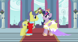 Size: 1211x660 | Tagged: safe, artist:3d4d, comet tail, twilight sparkle, alicorn, pony, big crown thingy, clothes, cometlight, dress, female, jewelry, male, marriage, regalia, royal wedding, shipping, straight, twilight sparkle (alicorn), wedding, wedding dress