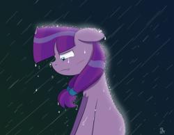 Size: 1600x1240 | Tagged: safe, artist:feralroku, lily longsocks, pony, crying, floppy ears, rain, sad, solo, wet mane