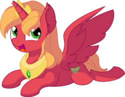 Size: 7749x6003 | Tagged: absurd res, alicorn, alicornified, artist:cyanlightning, big macintosh, cute, do princesses dream of magic sheep, ear fluff, happy, jewelry, looking at you, looking up, macabetes, male, open mouth, peytral, pony, princess big mac, prone, race swap, safe, simple background, smiling, solo, spread wings, stallion, .svg available, tiara, transparent background, vector, wing fluff, wings