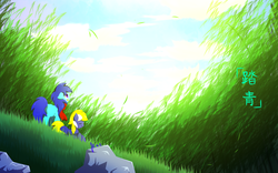 Size: 960x600 | Tagged: safe, artist:jerryenderby, oc, oc:enderby, oc:peppermint candy, earth pony, pegasus, pony, bamboo, clothes, cloud, cloudy, field, field trip, forest, forgot to draw wings sorry, grass, leaves, looking up, oc x oc, qing ming festival, red scarf, scarf, scenery, shipping, standing, stone, sunlight, wind