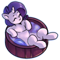 Size: 260x260 | Tagged: safe, artist:renka2802, rarity, pony, unicorn, cute, eyes closed, female, hot tub, mare, raribetes, simple background, solo, transparent background