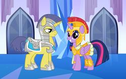 Size: 2768x1736 | Tagged: safe, artist:3d4d, comet tail, twilight sparkle, alicorn, pony, armor, athena sparkle, cometlight, costume, crystal empire, female, male, royal guard, shipping, straight, twilight sparkle (alicorn)