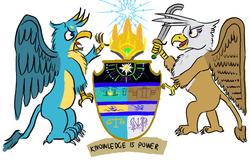 Size: 1400x900 | Tagged: safe, artist:horsesplease, gallus, gilda, griffon, 16, coat of arms, female, heraldry, khopesh, male, paint tool sai, stars, supporters, sword, vozonid, weapon