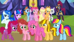 Size: 1920x1080 | Tagged: safe, artist:徐詩珮, applejack, fizzlepop berrytwist, fluttershy, pinkie pie, rainbow dash, rarity, tempest shadow, twilight sparkle, oc, oc:apple shiot, oc:betty pop, oc:bitter flower, oc:cake pie, oc:rainbow beart, oc:sky britt, oc:vesty sparkle, alicorn, earth pony, pegasus, pony, unicorn, my little pony: the movie, alicorn oc, base used, female, friendship, generic fluttermac foal, magical lesbian spawn, mane six, mare, mother and daughter, next generation, offspring, parent:applejack, parent:big macintosh, parent:caramel, parent:cheese sandwich, parent:fancypants, parent:flash sentry, parent:fluttershy, parent:glitter drops, parent:pinkie pie, parent:rainbow dash, parent:rarity, parent:soarin', parent:tempest shadow, parent:twilight sparkle, parents:carajack, parents:cheesepie, parents:flashlight, parents:fluttermac, parents:glittershadow, parents:raripants, parents:soarindash, royal guard, tempest becomes a royal guard, twilight sparkle (alicorn), twilight's castle