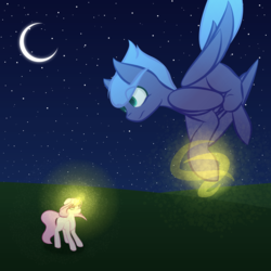 Size: 5000x5000 | Tagged: safe, artist:kids-in-the-corner, princess celestia, princess luna, pegasus, pony, unicorn, absurd resolution, falling, female, filly, filly celestia, filly luna, magic, moon, night, younger