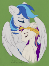 Size: 1380x1830 | Tagged: artist:airfly-pony, eyes closed, hug, male, oc, oc only, oc:rainy, pony, rcf community, safe, shipping