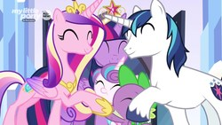 Size: 1920x1080 | Tagged: safe, screencap, princess cadance, princess flurry heart, shining armor, spike, twilight sparkle, alicorn, dragon, pony, unicorn, the beginning of the end, big crown thingy, crystal empire, cute, cutedance, discovery family logo, element of magic, eyes closed, family, family hug, female, filly, flurrybetes, foal, group hug, hug, jewelry, male, mare, regalia, shining adorable, sisters-in-law, smiling, sparkle family, spikabetes, stallion, twiabetes, twilight sparkle (alicorn), winged spike, wings