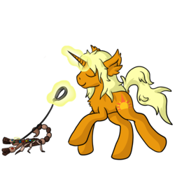 Size: 2000x2000 | Tagged: artist:raktor, chocolate, chocolate scorpion, collar, food, halo, leash, majestic as fuck, male, oc, oc:dawnflash, oc only, pet, pointy horn, pony, safe, scorpion, sharp horn, solo, unicorn