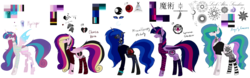 Size: 9999x3118 | Tagged: alicorn, alicorn oc, artist:moonlight0shadow0, band, bat pony, bat pony alicorn, bat pony oc, changeling, changeling oc, chinese, choker, clothes, curved horn, earth pony, fangs, female, fishnets, flannel, heart, hoodie, horn, horn ring, jewelry, lip piercing, look-alike, markings, messy mane, necklace, nose piercing, nose ring, not cadance, not celestia, not flurry heart, not luna, not twilight sparkle, oc, oc:angsty emocore, oc:clausa vera, oc:misanthropy melody, oc:myringa, oc only, oc:soprano shadow, pegasus, piercing, pony, reference sheet, safe, simple background, sisters, socks, spiked choker, striped socks, tattoo, transparent background, unicorn, vampire, wall of tags, wing piercing, wristband