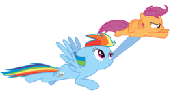 Size: 1204x663 | Tagged: safe, artist:martinnus1, rainbow dash, scootaloo, pegasus, pony, sleepless in ponyville, cute, cutealoo, duo, female, filly, flapping, flying, flying lesson, holding, holding a pony, mare, raised hoof, scootalove, simple background, sisterly love, smiling, transparent background, vector, windswept mane, wings