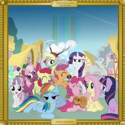 Size: 2000x2000   Tagged: safe, artist:grapefruitface1, apple bloom, bon bon, cheerilee, derpy hooves, dj pon-3, fluttershy, lyra heartstrings, octavia melody, pinkie pie, princess luna, rainbow dash, rarity, scootaloo, sweetie belle, sweetie drops, twilight sparkle, vinyl scratch, oc, oc:electric light (jeff lynne pony), pony, unicorn, album cover, animal costume, cloudsdale, costume, cuddling, cutie mark crusaders, electric light orchestra, elo, equestria light orchestra, frame, guitar, ponified, ponified album cover, ponyville, rainbow, reindeer costume, show accurate, statue, unicorn twilight, various artists