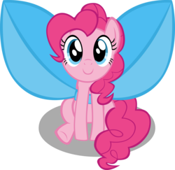 Size: 10236x9963 | Tagged: safe, artist:mrkat7214, pinkie pie, pony, absurd resolution, bow, c:, cute, diapinkes, female, impossibly large bow, looking at you, mare, simple background, sitting, smiling, solo, transparent background, vector