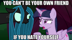Size: 1920x1080 | Tagged: alicorn, caption, clone, edit, edited screencap, image macro, mean twilight sparkle, queen chrysalis, safe, screencap, text, the mean 6, totally legit recap, twilight sparkle, twilight sparkle (alicorn)