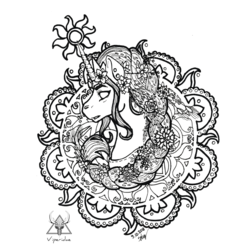 Size: 800x800 | Tagged: safe, artist:viperidaegraphics, princess celestia, pony, black and white, bust, ear piercing, earring, female, flower, flower in hair, grayscale, horn ring, inktober, inktober 2018, jewelry, mandala, mare, monochrome, no pupils, part of a set, piercing, regalia, sidemouth, simple background, solo, sun, white background
