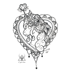 Size: 800x800 | Tagged: safe, artist:viperidaegraphics, princess cadance, pony, black and white, bust, crystal heart, female, flower, flower in hair, grayscale, headdress, heart, inktober, inktober 2018, jewelry, mandala, mare, monochrome, no pupils, open mouth, part of a set, regalia, sidemouth, simple background, solo, white background