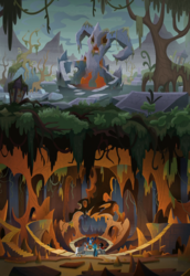 Size: 1619x2360 | Tagged: safe, composite screencap, edit, edited screencap, screencap, cozy glow, grogar, king sombra, lord tirek, queen chrysalis, centaur, changeling, changeling queen, pegasus, pony, umbrum, the beginning of the end, bare tree, cavern, crystal ball, evil lair, female, grogar's lair, lair, legion of doom, male, moss, panorama, ram, roots, ruins, scenery, stallion, swamp, tree, underground