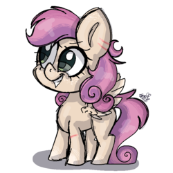Size: 768x768 | Tagged: safe, artist:awoomarblesoda, oc, oc:taffy strings, pegasus, pony, female, filly, magical lesbian spawn, offspring, parent:scootaloo, parent:sweetie belle, parents:scootabelle, simple background, solo, spread wings, transparent background, wings