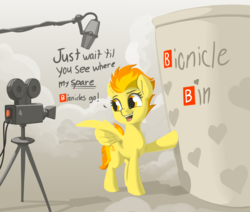 Size: 4096x3472 | Tagged: safe, artist:dimfann, artist:wenni, spitfire, pegasus, pony, bin, bionicle, boom mic, camera, collaboration, dialogue, female, lego, mare, microphone, solo, spitfire's bionicles, wing hands, wingers, 🅱