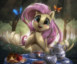 Size: 2500x2078 | Tagged: safe, artist:light262, fluttershy, butterfly, pegasus, pony, amazed, anatomically incorrect, biscuits, blushing, bush, bust, crying, cup, cute, daaaaaaaaaaaw, dappled sunlight, dark, female, food, forest, happy, head tilt, hnnng, hooves together, human shoulders, looking at you, mare, open mouth, outdoors, plate, scenery, shyabetes, smiling, solo, spread wings, table, tea, tea cakes, tea party, teapot, tears of joy, teary eyes, tree, watermelon, weapons-grade cute, wings