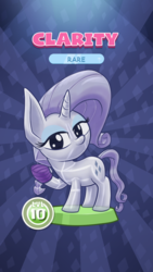 Size: 1440x2560 | Tagged: safe, artist:stewart501st, part of a set, rarity, crystal pony, miss pie's monsters, bandage, bandaged hoof, clarity, looking at you, pocket ponies, pocket pony, species swap