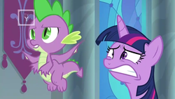 Size: 1366x768 | Tagged: safe, screencap, spike, twilight sparkle, alicorn, dragon, the beginning of the end, spoiler:s09e01, claws, faic, flying, throne room, tv rating, tv-y, twilight sparkle (alicorn), winged spike, worried
