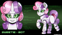 Size: 3840x2160   Tagged: safe, artist:ciderpunk, sweetie belle, pony, robot, robot pony, bedroom eyes, computer, cute, diasweetes, looking at you, sweetie bot, sweetie bot project, wallpaper, wingding eyes