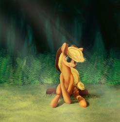 Size: 2000x2023 | Tagged: safe, artist:smg11-on-ddjrb, applejack, earth pony, pony, crepuscular rays, cute, female, fern, forest, jackabetes, log, mare, sitting, smiling, solo