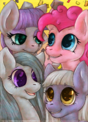 Size: 685x950 | Tagged: safe, artist:blusagi, limestone pie, marble pie, maud pie, pinkie pie, earth pony, pony, bust, colored pupils, confetti, cute, diapinkes, female, lidded eyes, limabetes, looking at each other, marblebetes, mare, maudabetes, open mouth, pie sisters, portrait, rock, siblings, sisters, smiling, when she smiles