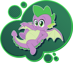 Size: 500x432 | Tagged: safe, artist:the-irken-moonwalker, spike, dragon, baby, baby dragon, belly, chubby, claws, cute, fangs, green eyes, looking at you, male, on back, signature, simple background, smiling, solo, spikabetes, transparent background, winged spike, wings