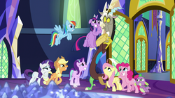 Size: 1920x1080 | Tagged: safe, screencap, applejack, discord, fluttershy, pinkie pie, rainbow dash, rarity, spike, starlight glimmer, twilight sparkle, alicorn, draconequus, dragon, earth pony, pegasus, pony, unicorn, the beginning of the end, spoiler:s09e01, baby, baby dragon, begging, big eyes, crystal, cute, cute face, cutie map, dashabetes, diapinkes, door, duckface, female, flying, frown, grin, jackabetes, lidded eyes, looking down, looking up, male, mane seven, mane six, map of equestria, mare, open door, pleading, puppy dog eyes, raised eyebrow, raised leg, raribetes, shyabetes, smiling, spikabetes, spread wings, squee, twiabetes, twilight sparkle (alicorn), twilight's castle, wide eyes, wings
