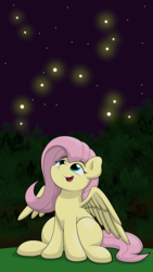 Size: 2250x4000 | Tagged: safe, artist:ljdamz1119, fluttershy, firefly (insect), pegasus, pony, cute, female, looking at something, looking up, mare, night, shyabetes, sitting, smiling, solo, spread wings, three quarter view, wings