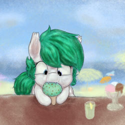 Size: 1000x1000 | Tagged: artist:solarbutt, bat pony, beach, female, food, ice cream, ice cream cone, mare, oc, oc only, pony, safe, solo