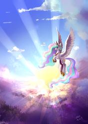 Size: 2894x4093   Tagged: safe, artist:shu-jeantte, princess celestia, alicorn, pony, cloud, crepuscular rays, female, flying, majestic, mare, sky, solo, sun, sunlight
