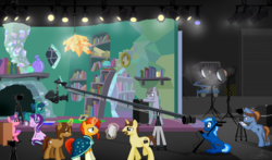 Size: 4964x2928 | Tagged: safe, artist:oinktweetstudios, starlight glimmer, sunburst, earth pony, pegasus, pony, unicorn, behind the scenes, book, camera, comb, fireplace, garage door, globe, lights, makeup, picture, powder puff, script, scroll, window
