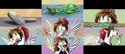 Size: 1373x596 | Tagged: anthro, artist:sunny way, artwork, bucks, coin, collage, dollar, female, happy, hoers, horse, lovely, mare, money, oc, oc:sunny way, open mouth, patreon, pegasus, rcf community, safe, tier, wings