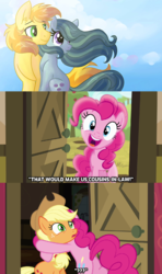 Size: 1024x1727   Tagged: safe, artist:dreamscapevalley edits, edit, edited screencap, screencap, applejack, braeburn, marble pie, pinkie pie, pony, pinkie apple pie, braeble, caption, confused, female, hat, hug, implied marriage, male, mare, pinkie logic, shipper on deck, shipper pie, shipping, straight