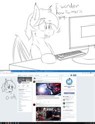Size: 1920x2500 | Tagged: safe, artist:eclipsepenumbra, artist:eclipsethebat, oc, oc only, oc:eclipse penumbra, bat pony, browser, computer, firefox, meta, reaction, rule 63, sketch, twitter