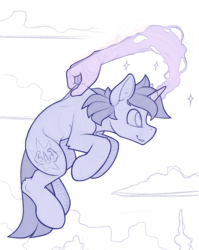 Size: 1200x1504 | Tagged: artist:yakovlev-vad, cloud, ear fluff, flying, hand, levitation, magic, magic hands, male, monochrome, oc, oc only, paradox, pony, safe, scruff, seems legit, self-levitation, simple background, sketch, solo, stallion, troll physics, unicorn