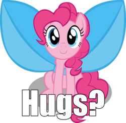 Size: 5118x4982 | Tagged: safe, alternate version, artist:mrkat7214, pinkie pie, pony, absurd resolution, bow, bronybait, c:, caption, cute, diapinkes, female, hug request, image macro, impossibly large bow, looking at you, mare, simple background, sitting, smiling, solo, text, transparent background, vector