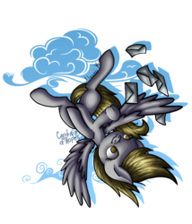 Size: 1500x1750 | Tagged: artist:captainofhopes, artist:nomearts, cloud, derpy hooves, letter, pegasus, pony, safe, signature, simple background, solo, transparent background, upside down