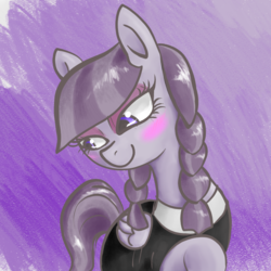 Size: 1200x1200 | Tagged: safe, artist:t72b, derpibooru exclusive, inky rose, pegasus, pony, abstract background, blushing, bust, clothes, cute, female, inkybetes, mare, portrait, raised hoof, solo