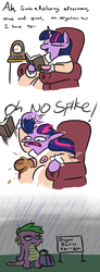 Size: 571x1552 | Tagged: safe, artist:jargon scott, spike, twilight sparkle, book, clock, clothes, comic, cup, dragon practice, female, food, forgetful, male, mama twilight, mare, neglect, rain, robe, simpsons did it, spike is not amused, suitcase, tea, teacup, the simpsons, unamused