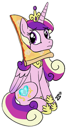 Size: 615x1153 | Tagged: alicorn, artist:heretichesh, crown, cute, cutedance, cutie mark, eye clipping through hair, female, food, hoof shoes, jewelry, mare, /mlp/, peetzer, pizza, princess cadance, regalia, safe, signature, simple background, sitting, that pony sure does love pizza, white background