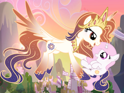 Size: 5200x3936 | Tagged: safe, artist:parisa07, princess celestia, oc, oc:queen galaxia, alicorn, pony, unicorn, 's parents, celestia and luna's mother, cewestia, female, filly, flying, like mother like daughter, like parent like child, mother and daughter, pink-mane celestia, windmill, young, younger